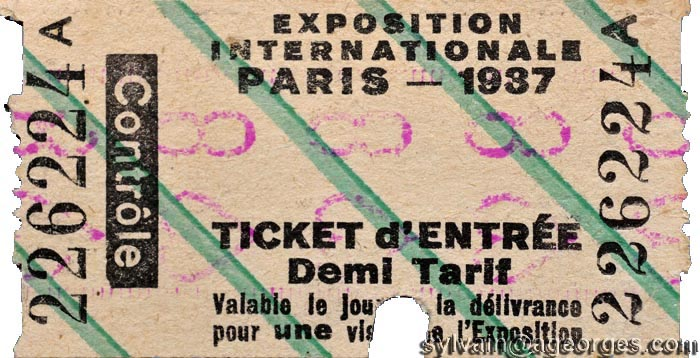 paris exposition  internationale ticket1937